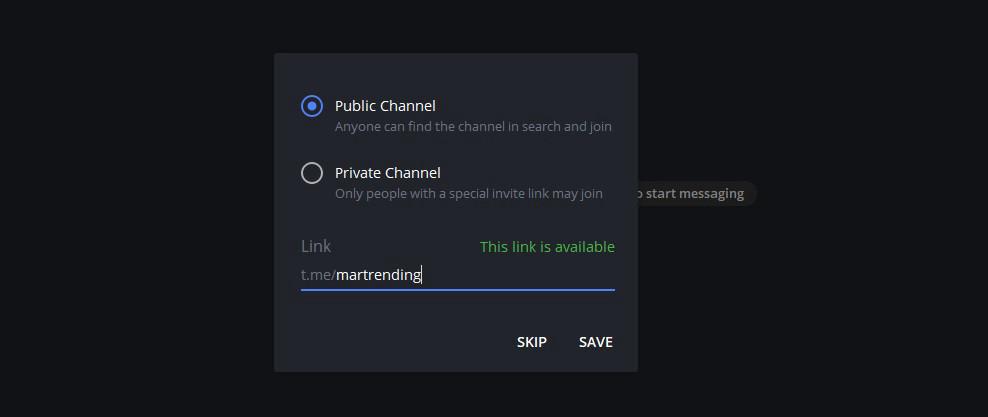 Выберите тип канала и короткую ссылку для своего канала