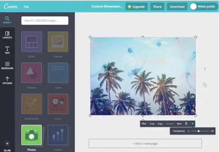 сервис для создания картинок Canva с готовыми графическими элементами