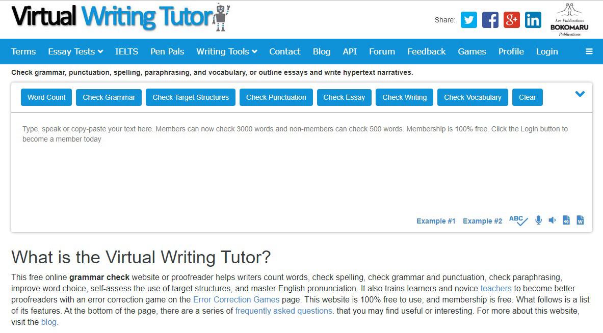 Virtual Writing Tutor - онлайн-сервис по освоению правил английского письма