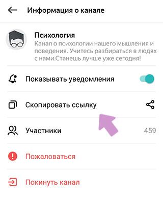 Ссылка на канал в Яндекс.Мессенджер находится в меню описания канала