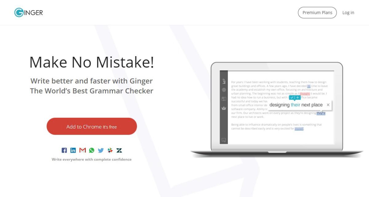 Ginger - расширение с функцией проверки пунктуации, грамматики и орфографии