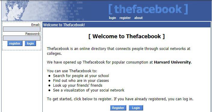 thefacebook.com. Скриншот от 12 февраля 2004 года