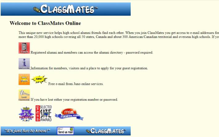 classmates.com. Скриншот от 26 декабря 1996 года