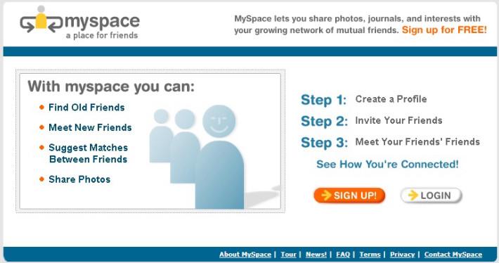 myspace.com. Скриншот от 20 октября 2003 года