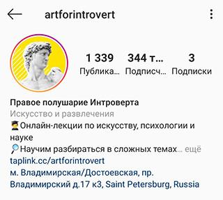 Пример заполненного профиля –аватар, никнейм, описание